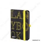 L-Y-O fekete/sárga A/6 jegyzetfüzet, négyzethálós