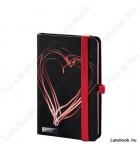 Night Light fekete/vörös A/6 jegyzetfüzet, négyzethálós