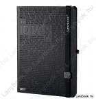 Idea Factory fekete/fekete B/5 jegyzetfüzet, kockás