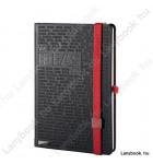 Idea Factory fekete/vörös A/5 jegyzetfüzet, vonalas